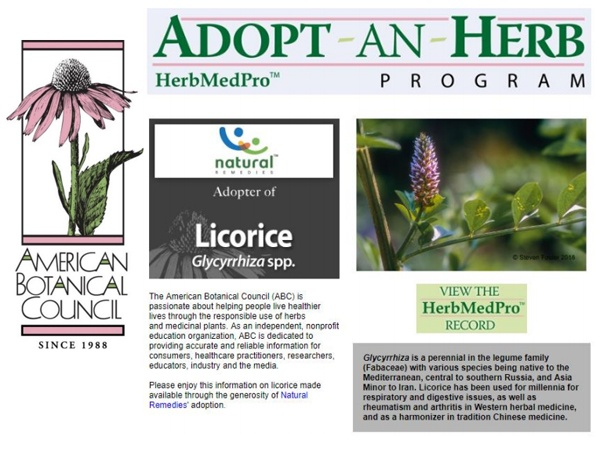 Natural remedies adopted Licorice through ABC's ADOPT-AN-HERB program
