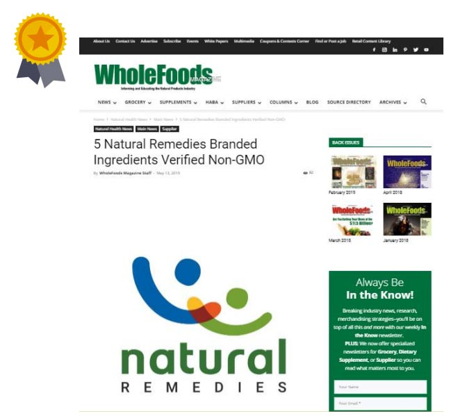 5 Natural remedies branded ingredients verified Non-GMO